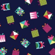 Makower UK Wrap It Up - 4523 - Multicoloured Presents on Navy Blue - 1607-B - Cotton Fabric